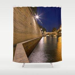 Paris sur Seine Twilight Shower Curtain