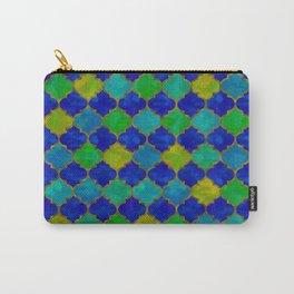 Ocean Breeze -Watercolor Moroccan Lattice Carry-All Pouch