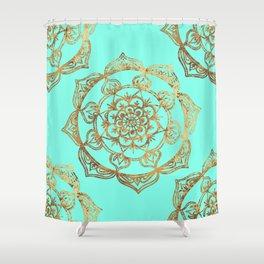 Turquoise & Gold Mandalas Shower Curtain