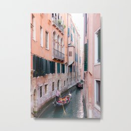 Venice Gondola Rides in Pink Metal Print