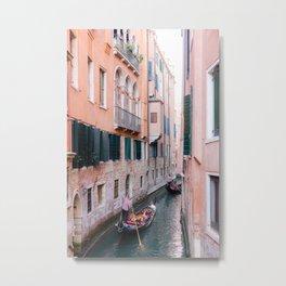 Venice Gondola Rides in Pink Metal Print