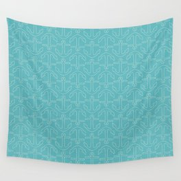 Beach Series Aqua - White Anchors on turquoise background Wall Tapestry