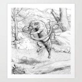 Mongoose and snake Art Print