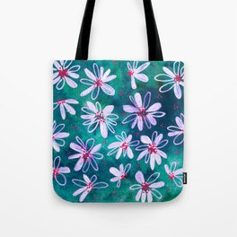 Daisy Flowers | Whimsical Watercolor Daisies on Cyan BlueTeal Tote Bag