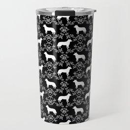Australian Cattle Dog minimal floral silhouette pattern black and white dog art Travel Mug