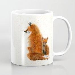 Fox Mama and Kit - animal watercolor painting of fox mother and baby Coffee Mug