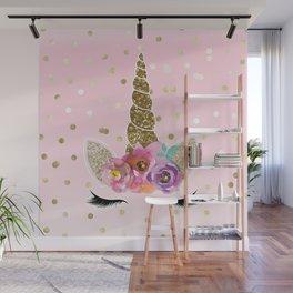 Floral Trendy Modern Unicorn Horn Gold Confetti Wall Mural