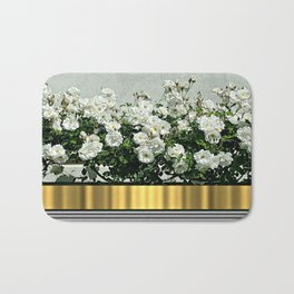 Wild white roses  with golden ribbon Bath Mat