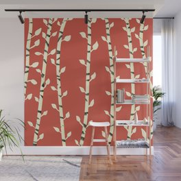 Birch branhces red Wall Mural
