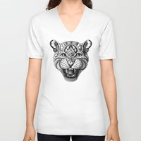 leopard V-neck T-shirts featuring Leopard by BIOWORKZ