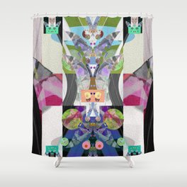 Machine Elves S'elf Portrait No. 2 Contemporary Psychedelic Abstract Shower Curtain