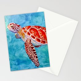 Sea turtle and friend Stationery Cards