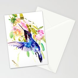 Bee Hummingbird and Soft Pink Flowers Stationery Cards