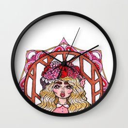 Crowned with Blossoms Wall Clock