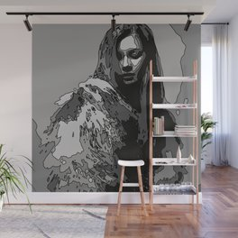 Woman with fur coat in black and white Wall Mural