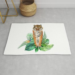 watercolor illustration of a tropical laves and Tiger Rug