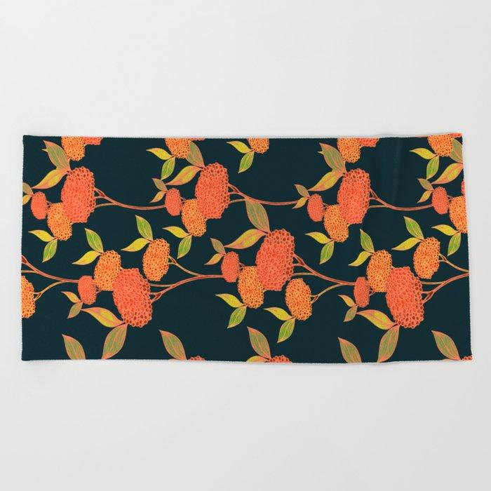 Orange autumn berries. Beach Towel