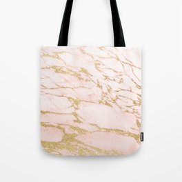 Blush pink abstract gold glitter marble Tote Bag
