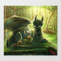 hiccup Canvas Prints featuring Hiccup and Toothless by PuppyChowArts