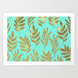 Mint green and gold foil fern Art Print