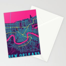 New Orleans Neon City Map, New Orleans Minimalist City Map Stationery Cards