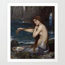 A MERMAID - WATERHOUSE Art Print