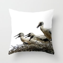 Storks and Fledglings Vector Throw Pillow