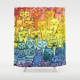 the pride cat rainbow  squad Shower Curtain