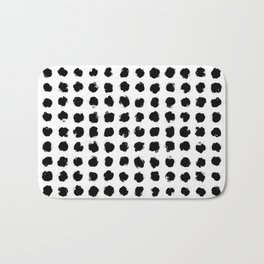 Black and White Minimal Minimalistic Polka Dots Brush Strokes Painting Bath Mat
