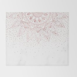 Elegant rose gold mandala confetti design Throw Blanket