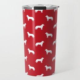 Australian Cattle Dog silhouette pattern portrait dog pattern red and white Travel Mug