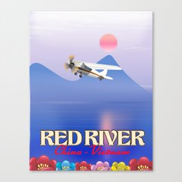 Red River China Vietnam travel poster. Canvas Print