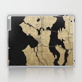 Seattle Black and Gold Street Map Laptop & iPad Skin
