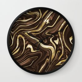 Brown Gold Marble #1 #decor #art #society6 Wall Clock
