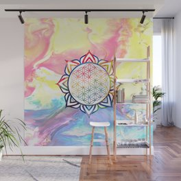 Rainbow Lotus Flower of Life Mandala Wall Mural