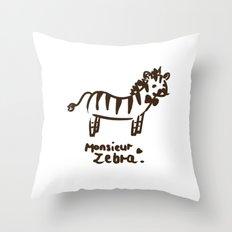 Monsieur Zebra  Throw Pillow