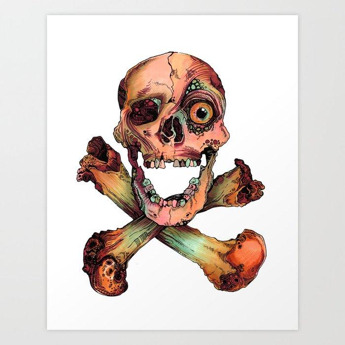 Skull in Color Art Print