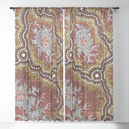 Aboriginal Art Authentic - Bushland Dreaming Ppart 2 Sheer Curtain