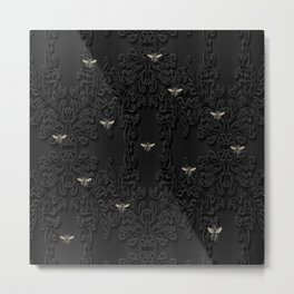 Black Bees and Lace Metal Print
