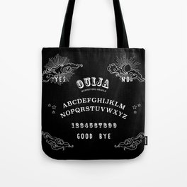 Ouija Board White on Black Tote Bag