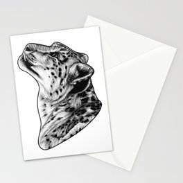 Snow leopard - big cat - ink illustration Stationery Cards