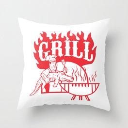 BBQ Chef Carry Gator Grill Retro Throw Pillow