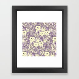 just owls purple cream Framed Art Print