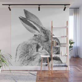 Black and white rabbit Wall Mural