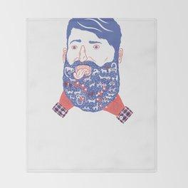 Animals in Beard Throw Blanket