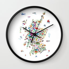 Animal Map of Scotland for children and kids Wall Clock