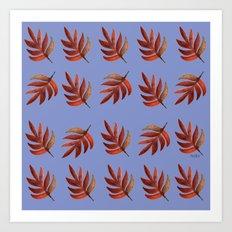 Leaf pattern blue Art Print