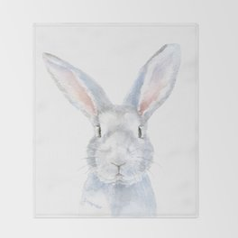 Gray Bunny Rabbit Watercolor Painting Throw Blanket