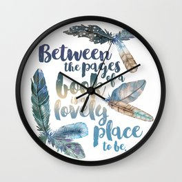 Between the Pages - Feathery White Wall Clock
