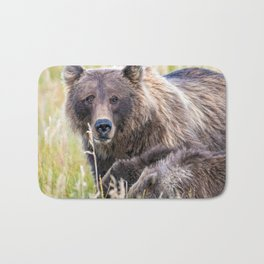 Super Adorable Grizzly Bear Mother With Her Two Cubs Grazing Meadow Close Up Ultra HD Bath Mat